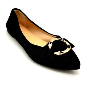 Womens Glitter Pointed Toe Ballet Flat Shoes New